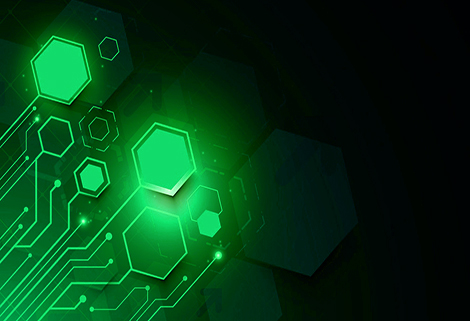 Abstract futuristic circuit board and technology computer on dark blue background